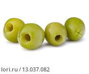 Купить «Green olives fruits isolated on white background cutout», фото № 13037082, снято 5 марта 2015 г. (c) Natalja Stotika / Фотобанк Лори