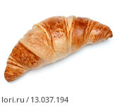 Купить «Croissant or crescent roll isolated on white background cutout», фото № 13037194, снято 17 марта 2015 г. (c) Natalja Stotika / Фотобанк Лори