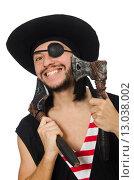Купить «Man pirate isolated on the white background», фото № 13038002, снято 10 апреля 2015 г. (c) Elnur / Фотобанк Лори