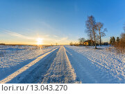 Сельский пейзаж зимой в солнечный день. Стоковое фото, фотограф Александр Корчагин / Фотобанк Лори