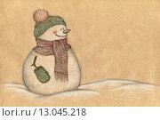 Купить «Снеговик, рисунок на бумаге», иллюстрация № 13045218 (c) Ирина Генюш / Фотобанк Лори