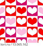 Купить «Бесшовный фон с сердца», иллюстрация № 13065162 (c) Ирина Иглина / Фотобанк Лори