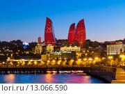 Купить «Ночной вид на башни Flame Towers - Огненные Башни. Баку. Азербайджан», фото № 13066590, снято 22 сентября 2015 г. (c) Евгений Ткачёв / Фотобанк Лори