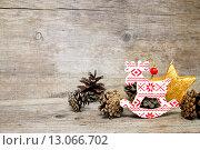 Купить «Поздравительная открытка с новогодними символами», фото № 13066702, снято 10 ноября 2015 г. (c) Наталья Осипова / Фотобанк Лори