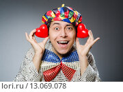 Funny clown with red nose. Стоковое фото, фотограф Elnur / Фотобанк Лори