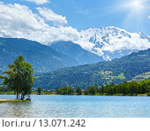 Lake Passy and Mont Blanc mountain massif summer view. Стоковое фото, фотограф Юрий Брыкайло / Фотобанк Лори