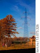 Высоковольтные линии электропередач. Стоковое фото, фотограф Ольга Коретникова / Фотобанк Лори