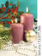 Купить «Новогодняя композиция с горящими свечами и ёлочными шарами», фото № 13077366, снято 19 ноября 2013 г. (c) Виктор Топорков / Фотобанк Лори