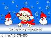 Новогодняя открытка с забавной обезьяной, символом 2016 года, и двумя снеговиками. Оставлено место для текста поздравления. Стоковая иллюстрация, иллюстратор Татьяна Скрипниченко / Фотобанк Лори
