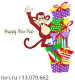 Новогодняя открытка с забавной обезьяной, символом 2016 года, и яркими подарочными коробками. Оставлено место для текста поздравления. Стоковая иллюстрация, иллюстратор Татьяна Скрипниченко / Фотобанк Лори