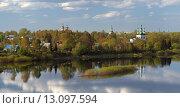 Купить «Вид на центральную часть города Тотьмы со стороны реки Сухоны, Вологодская область», эксклюзивное фото № 13097594, снято 17 мая 2014 г. (c) Самохвалов Артем / Фотобанк Лори