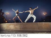 Купить «Two athletes practising in the night», фото № 13108582, снято 6 сентября 2014 г. (c) Ingram Publishing / Фотобанк Лори