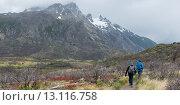Tourists hiking, Torres Del Paine National Park, Patagonia, Chile. Стоковое фото, фотограф Keith Levit / Ingram Publishing / Фотобанк Лори
