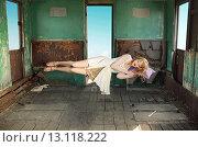 Portrait of the levitating sleeping lady. Стоковое фото, агентство Ingram Publishing / Фотобанк Лори