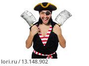 Купить «Man pirate isolated on the white background», фото № 13148902, снято 10 апреля 2015 г. (c) Elnur / Фотобанк Лори