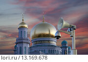 Купить «Одна из крупнейших мечетей России и Европы, Московская соборная мечеть», фото № 13169678, снято 6 ноября 2015 г. (c) Владимир Журавлев / Фотобанк Лори
