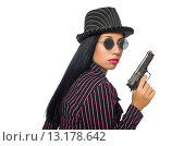 Купить «Gangster woman with gun isolated on white», фото № 13178642, снято 31 августа 2015 г. (c) Elnur / Фотобанк Лори