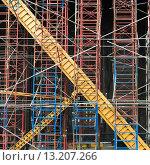 Купить «Scaffolding at construction site, Chelsea, Manhattan, New York City, New York State, USA», фото № 13207266, снято 10 мая 2014 г. (c) Ingram Publishing / Фотобанк Лори