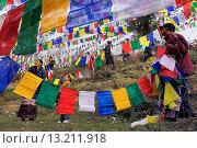 Купить «People hanging Tibetan prayer flags in Lhagyal Ri, near Tsuglagkhang complex,McLeod Ganj, Dharamsala, Himachal Pradesh state, India, Asia», фото № 13211918, снято 25 февраля 2020 г. (c) age Fotostock / Фотобанк Лори