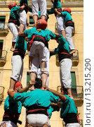 Купить «Castellers de Vilafranca ´Castellers´ building human tower, a Catalan tradition Festa de Santa Tecla, city festival  Plaça de la Font Tarragona, Spain», фото № 13215290, снято 15 июля 2020 г. (c) age Fotostock / Фотобанк Лори