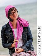 Купить «beautiful young woman on beach with scarf relax smile and have fun», фото № 13416210, снято 5 апреля 2020 г. (c) age Fotostock / Фотобанк Лори