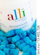 Купить «Alli is a half_dose version of the diet drug Xenical Orlistat produced by GlaxoSmithKline GSK. First anti_obesity drug, available in pharmacy without prescription in France from May 6 2009.», фото № 13492726, снято 6 мая 2009 г. (c) age Fotostock / Фотобанк Лори