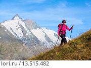 Купить «Woman hiking at the Grossglockner, Hohe Tauern National Park, Carinthia, Austria», фото № 13515482, снято 24 июня 2019 г. (c) age Fotostock / Фотобанк Лори