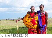 Купить «Kenya Masai Mara reserve with space and two Masai warriors and clouds in Masai Mara National Park in reserve 8», фото № 13522450, снято 4 июля 2020 г. (c) age Fotostock / Фотобанк Лори