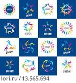 Купить «Набор логотипов союза людей», иллюстрация № 13565694 (c) Алексей Бутенков / Фотобанк Лори