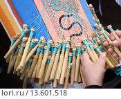Купить «Close up of ladies hands making lace. Torremolinos, Costa del Sol, Malaga, Spain.», фото № 13601518, снято 18 мая 2008 г. (c) age Fotostock / Фотобанк Лори