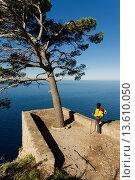Des Pi lookout, viewpoint Niu des Corb, Valldemossa, Tramuntana, mallorca, Balearic Islands, Spain, Europe. Стоковое фото, фотограф Tolo Balaguer / age Fotostock / Фотобанк Лори