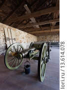 Купить «USA, Kansas, Larned, Fort Larned National Historic Site, mid-19th century military outpost, protecting the Santa Fe Trail, artillery», фото № 13614078, снято 23 апреля 2019 г. (c) age Fotostock / Фотобанк Лори