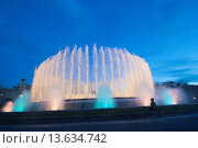 Купить «Europe, Spain, Barcelona, The Magic Fountain of Montjuïc Catalan: Font màgica de Montjuïc, Spanish: Fuente mágica de Montjuic is a fountain located at...», фото № 13634742, снято 13 июля 2020 г. (c) age Fotostock / Фотобанк Лори