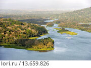 Купить «aerial view over the Chagres River in Sobenia National Park, from the watching tower of the Gamboa Resort, Republic of Panama, Central America», фото № 13659826, снято 24 января 2019 г. (c) age Fotostock / Фотобанк Лори