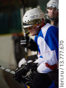 Купить «ice hockey players on bench», фото № 13777670, снято 21 марта 2019 г. (c) PantherMedia / Фотобанк Лори