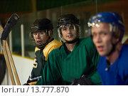 Купить «ice hockey players on bench», фото № 13777870, снято 21 марта 2019 г. (c) PantherMedia / Фотобанк Лори