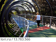 Купить «woman trekking on the bridge Slinky Springs to Fame, Rehberger bridge, Germany, North Rhine-Westphalia, Ruhr Area, Oberhausen», фото № 13783566, снято 24 июня 2019 г. (c) age Fotostock / Фотобанк Лори