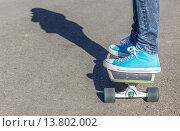 Купить «Girl with blue shoes on a skateboard », фото № 13802002, снято 23 октября 2019 г. (c) PantherMedia / Фотобанк Лори