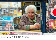 Купить «Sofia, Bulgaria. Older woman, working in a kiosk with magazines and newspapers.», фото № 13811886, снято 11 октября 2018 г. (c) age Fotostock / Фотобанк Лори