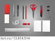Купить «Stationery, office supplies mockup template, anthracite background», фото № 13814514, снято 16 августа 2018 г. (c) PantherMedia / Фотобанк Лори