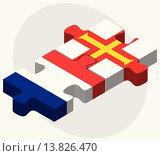 Купить «France and Guernsey Flags», иллюстрация № 13826470 (c) PantherMedia / Фотобанк Лори