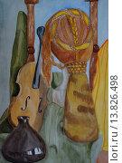 Парик,скрипка и бутыль. Стоковая иллюстрация, иллюстратор Ирина Харламова / Фотобанк Лори