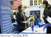 Купить «Job seekers attend an internship and job fair at Pace University in New York. The US Labor Department reports new claims for unemployment benefits for...», фото № 13832414, снято 22 ноября 2019 г. (c) age Fotostock / Фотобанк Лори