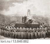 Купить «The execution of Louis XVI, 21 January 1793, Place de la Révolution, Paris, France. The engraving represents the moment the king wishes to speak to his...», фото № 13849882, снято 20 июля 2019 г. (c) age Fotostock / Фотобанк Лори