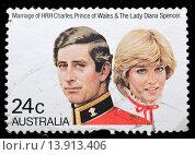 Prince Charles and Lady Diana marriage, postage stamp, Australia, 1982 (2010 год). Редакционное фото, фотограф Ivan Vdovin / age Fotostock / Фотобанк Лори