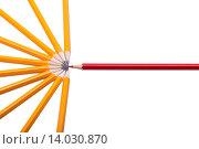 Красный карандаш в круге простых на белом фоне. Стоковое фото, фотограф Кирилл Пономарёв / Фотобанк Лори