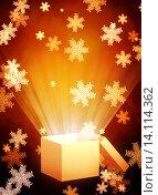 Купить «Christmas background with magic box», иллюстрация № 14114362 (c) Лукиянова Наталья / Фотобанк Лори