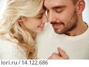 Купить «close up of happy couple faces with closed eyes», фото № 14122686, снято 8 октября 2015 г. (c) Syda Productions / Фотобанк Лори