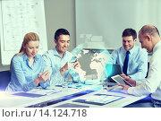 Купить «smiling business people with gadgets in office», фото № 14124718, снято 25 октября 2014 г. (c) Syda Productions / Фотобанк Лори