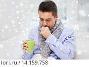 Купить «ill man with flu drinking tea and coughing at home», фото № 14159758, снято 29 января 2015 г. (c) Syda Productions / Фотобанк Лори